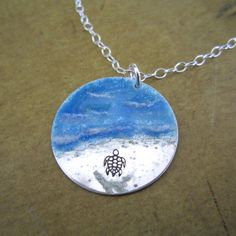 Almost There enameled Sea Turtle Necklace in by DreamAcreDesigns, $51.00 This is precious