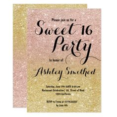Modern girly gold rose gold glitter ombre Sweet 16 Card - girly gifts girls gift ideas unique special