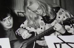 "1964*  JP: ""Here at EMI, on a Jackie DeShannon session. I had a chord sheet but she asked if she could show me her version, so here is a time-snap of that moment."""