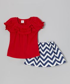 Love this Annapolis Brand Red Ruffle Tee & Navy Zigzag Skirt - Toddler & Girls by Annapolis Brand on #zulily! #zulilyfinds