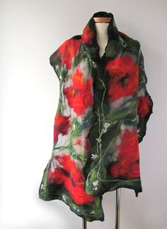 Nuno Felted scarf   Poppy red green flower