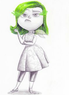 Disgust from inside out-pixar-disney-fan art-wall art-character art- print- drawing
