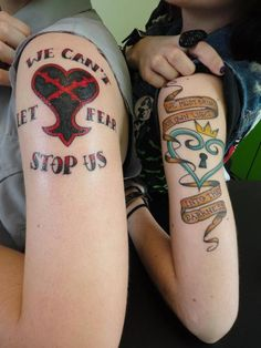 Here are mine and my fiancees tattoos! Hers is the one on the left, and mine is on the right. We got them done by Helen at Zombie Tattoo in Norco, CA.  We've always been big fans of Kingdom Hearts, the game means a lot to us, and of course the tattoos themselves hold deep personal meaning. We couldn't be happier with them!  Feel free to say hi!Emily's tumblr - bull-dyke.tumblr.comTabby's tumblr - tabbysaurus.tumblr.com