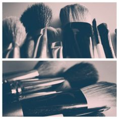 Set of 2 Black and White Makeup Brushes Art by jessicareisspix, $25.00