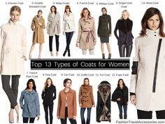 Top 13 Types of Coats tips, reviews & guides for Women to Wear for Winter, Fall, Spring in Europe, UK, USA, Australia, NZ for work, travel, party, events.