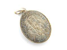Antique French Saint Joseph Catholic Medal - Religious Charm - St Joseph Jesus Medallion by LuxMeaChristus on Etsy