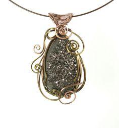Metallic Druzy Agate wire wrapped pendant