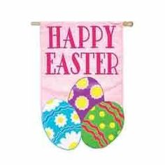 """Garden Size Applique Flag Happy Easter by House-Impressions. Save 37 Off!. $11.99. Great for yourself or as a gift. 12.5"""" x 18"""". Applique Flag. Words can be read on both sides. Soft yet weather resistant nylon material. Make an impression! These beautiful, brightly colored, creatively designed flags are the perfect way to greet someone to your home or garden. Made with tight-stitching and high quality material to last and last. Our applique regular size flags are extra-durab..."""