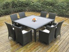Ohana Outdoor Patio Wicker Furniture  Square Dining set 8 Chairs.