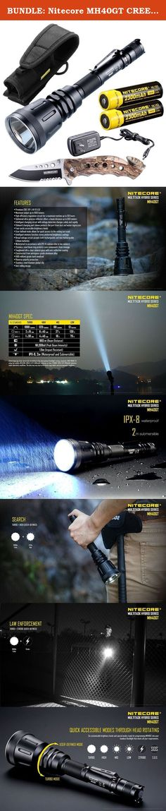 BUNDLE: Nitecore MH40GT CREE XP-L HI V3 LED Rechargeable Flashlight 1000 Lmn w/ Tac-Force TF-498BC Folding Knife. This bundle includes: Nitecore MH40GT Rechargeable LED Flashlight (w/ 2 NL183 18650 2300mAh batteries included) and Tac Force TF-498BC Spring Assisted Pocket Knife Features -- Premium CREE XP-L HI V3 LED -- Maximum output of 1000 lumens -- Beam Distance: 803 meters -- Peak Intensity: 161,300cd -- Maximum runtime of up to 130 hours -- Intelligent charging circuit with voltage...