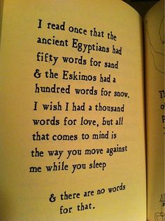 I read once that the ancient Egyptians has fifty words for sand and the Eskimos had a hundred words for snow. I wish I had a thousand words for love, but all that comes to mind is the way you move against me while you sleep and there are no words for that.