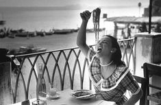 Positano charming place for americans - by Bert Hardy 1949 18 year old student Mercey Haystaed learning to eat spaghetti, she was official guest of Positano, Sept 49