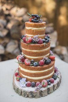 Naked Cake Wedding Sponge Layer Fruit Log Feminine Bohemian Beautiful Bridal Ideas http://www.photographsbyeve.co.uk/