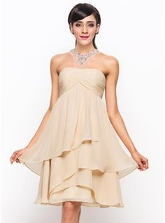 Special Occasion Dresses - $135.99 - A-Line/Princess Scoop Neck Knee-Length Chiffon Tulle Cocktail Dress With Ruffle Beading Sequins  http://www.dressfirst.com/A-Line-Princess-Scoop-Neck-Knee-Length-Chiffon-Tulle-Cocktail-Dress-With-Ruffle-Beading-Sequins-016055935-g55935