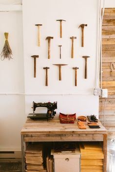 15 Unexpected Ways to Decorate with Collections: This Denver leatherworker dressed up her studio wall with a collection of antique tools.