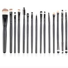 Brand New  15 Brush Set Features: Eye Shadow Foundation Eyebrow Lip Brush Makeup Tools 15 pcs/Sets Cosmetic Kits 100% Brand New. Very Soft and Comfortable. Suitable for both professional and home use. The makeup tool set includes: 1pc powder brush, 6pcs eye shadow brush,1pc eyebrow brush,1pc sponge eye shadow brush, 1pc eyeliner brush, 3pcs two-head brush, 1pc lip brush, 1pc comb brush. Makeup Brushes & Tools