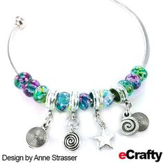 EASY DIY ~ WATERCOLOR BANGLE! eCrafty.com's new bangle kit (SKU 940) is so easy to use that Anne had a hard time stopping once she got going. Twist off an end bead, add beads, twist the end bead back in place and you're done! #jewelrysupplies #beads #diy #handmade #jewelry #etsy #bangle #diyjewelry #beading #crafting #bracelet #ecrafty #alphabet #personalized #letterbeads #alphabetbeads Alphabet Beads, Letter Beads, Diy Supplies, Jewelry Supplies, Balloon Crafts, Jewelry Crafts, Jewelry Ideas, Handmade Jewelry, Bangles