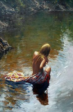 by Hagan. Australian impressionist painting of a beautiful woman. The beauty of the human body was shown with reality and with the values of modern art in impressionism.