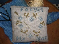 forget me not backed with antique blue