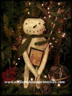 """#SH34 Primitive Standing Snowman Holding Feather Tree """"Mr.Frost"""" (Made In USA)"""