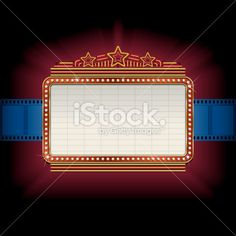 Theater marquee with film strip border Royalty Free Stock Vector Art Illustration