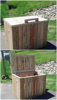 Why you need a storage giant cupboard for your use, when you can easily get the cheap storage box of Easy Wood Projects, Diy Pallet Projects, Woodworking Projects Diy, Pallet Ideas, Wood Ideas, Woodworking Patterns, Backyard Projects, Diy Ideas, Pallet Storage