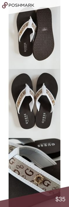 e7ea65be79 G by Guess Flip Flops Brand new size 5 brown and white with gold accent G  by guess logo on strap. G by Guess Shoes Sandals & Flip Flops