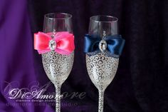 Flautas de azul marino caliente boda rosa champagne, tostado gafas, novia y novio, sistema personalizado, boda Regalo ideas 2 pcs /G4/6/11-0008