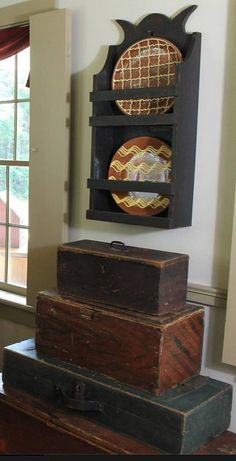 Old wood boxes and redware