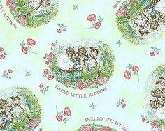 Beatrix Potter Fabric Peter Rabbit Tom Kitten 3 Little Kittens Nursery on Green
