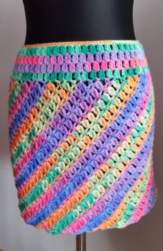 Rainbow crochet winter skirt