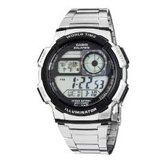 Casio Men's AE1000WD-1AVCF World Time Silver-Tone Bracelet and