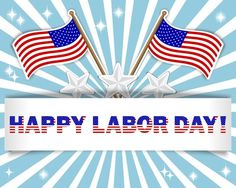 Happy Labor Day USA Flags Graphic