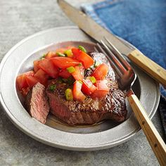 Tomato-Herbed Steak From:  diabeticlivingonline.com
