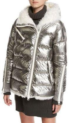 4552133c6cc Moncler Lirio Quilted Metallic Puffer Coat W  Shearling Down Coat