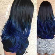 Image result for dark blue hair straight