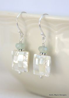 Mother of pearl earrings aquamarine stones by HollyMackDesigns, $30.00