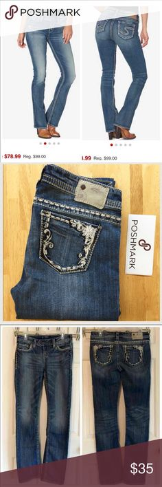 """♨️JUST IN 〰 SILVER BRAND Jeans Distress factory look, straight leg. Same style/fit as the stock photo just different pocket design and side stitching. Size 29"""" x 34"""". Silver Jeans Jeans Straight Leg"""