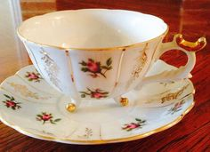 Vintage Japanese GrantCrest China Porcelain Footed & Scalloped Tea Cup Saucer Set so Shabby!