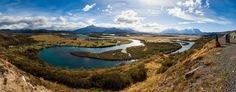 General 2048x804 nature landscape photography panoramas river mountains clouds village shrubs people photographer Patagonia Chile