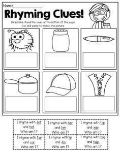 Read the SIMPLE clues that have rhyming words, match the picture! GREAT for BEGINNING readers!