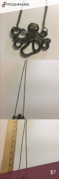 Octopus bronze necklace. Long bronze octopus necklace. Jewelry Necklaces