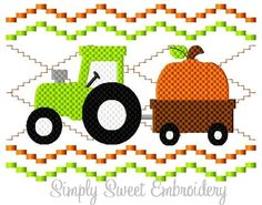 Faux Smocking Fall Tractor Pumpkin Machine by SimplySweetEmbroider Embroidery Monogram, Applique Embroidery Designs, Embroidery Files, Monogram Machine, Smocking Plates, Tractors, Sewing Projects, Baby Boy, Kids Rugs