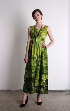 60s Tropical Maxi  Vintage Hawaiian Dress  \\ VeraVague //
