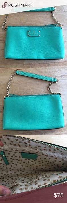 Kate Spade Shoulder Bag Beautiful shoulder bag that is perfect for a night out. The interior has two small pockets that can hold cards and a small zippered pocket.  The color is a fun, bright, jade green that's perfect for a pop of color. It's only been used once and is in excellent condition. kate spade Bags Shoulder Bags