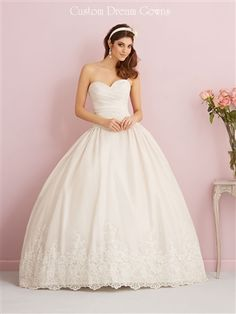 Classic Taffeta Ball Gown with Sweetheart Neckline, Lace Applique on Fitted Ruched Bodice and Across Natural Waist, Gathered Full Ball Gown Skirt with Lace Applique Across Hemline, Chapel Train, Ruched V-Back with Buttons to Hem and Hidden Zipper Closure. #CustomWeddingDress #CustomGown #BallGownWedding #FairytaleWeddingDress #PrincessDress #LaceAppliqueDress #Sweetheart #ChapelTrain #GorgeousWeddingDress #SayYesToTheDress #DreamWedding #DreamWeddingDress #BeautifulWeddingDress
