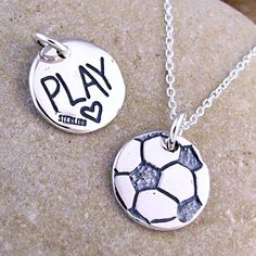 Soccer Jewelry  Silver Soccer Ball Necklace  Play Soccer by HANNI, $29.00