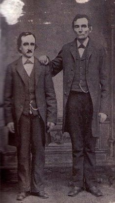 Edgar Allan Poe poses with Abraham Lincoln in Mathew Brady's Washington, D. studio- February WAT Edgar Allan Poe poses with Abraham Lincoln in Mathew Brady's Wash Edgar Allen Poe, Edgar Allan, Allan Poe, Old Pictures, Old Photos, Beach Photos, Scary Photos, Interesting History, Vintage Photographs