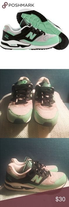 New Balance 530 Ws 6.5 Like NEW and only worn once. New Balance 530 sneakers size 6.5. Black, grey, and mint green. Fun colors and super comfy! New Balance Shoes Sneakers