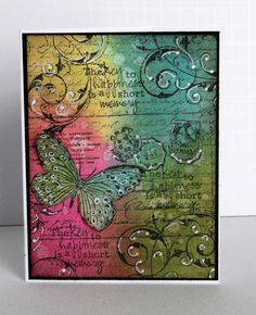 """beautiful handmade card: """"Pearlescent Perfection"""" creations with Distress Inks and Perfect Pearls ...luv the color pallete for the sponging ... like the sentiment stamped three times ... adornments from white gel pen ..."""